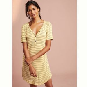 Pure + Good Anthropologie Ribbed Henley Dress